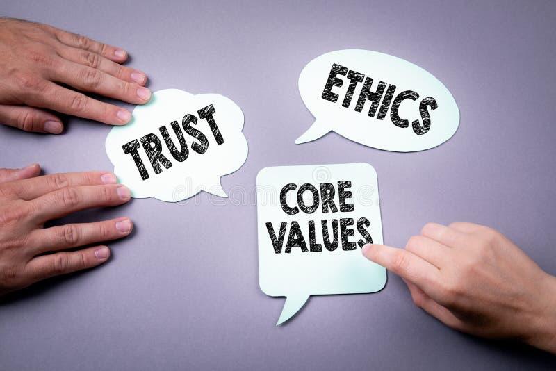 Valores do núcleo, confiança e conceito das éticas fotos de stock