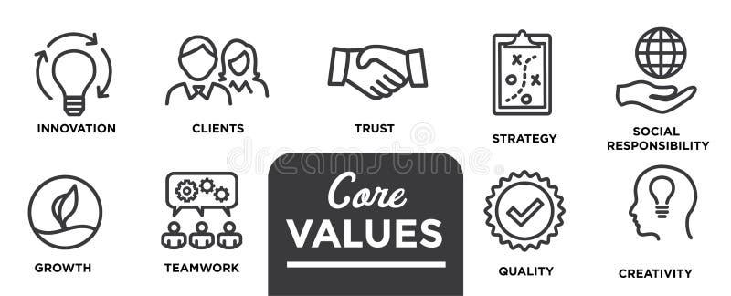 Valores do núcleo - a missão, ícone do valor da integridade ajustou-se com visão, hon foto de stock royalty free