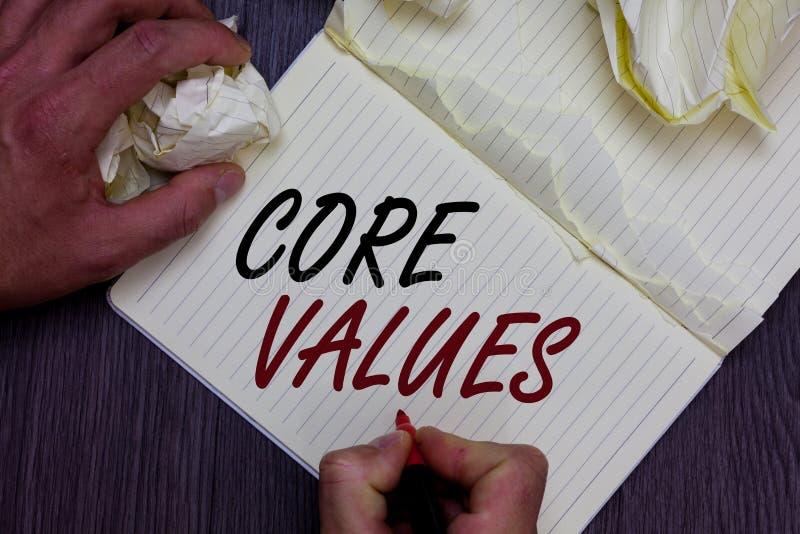 Valores do núcleo do texto da escrita da palavra Conceito do negócio para a pessoa da opinião ou as opiniões da organização como  foto de stock