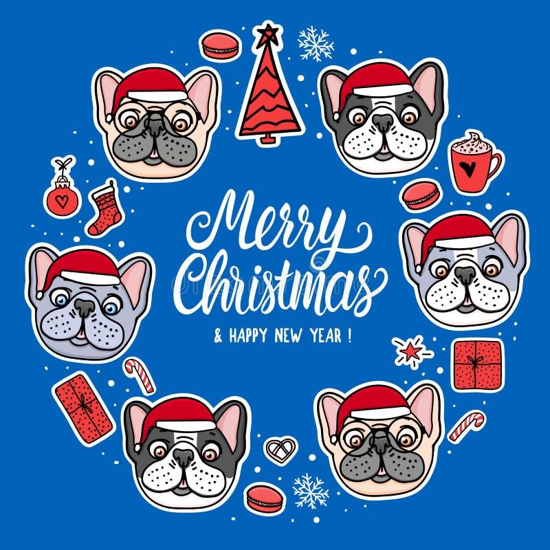 Valp för fransk bulldogg för kort i santa för glad jul hattar Ram med bokstäver Klistermärkear för vektorillustrationtecknad film stock illustrationer