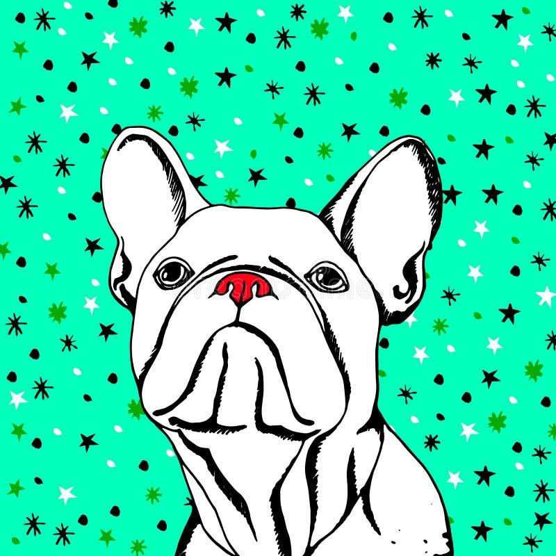 Valp för teckning för djur fransk för illustration för bulldogghund avel för husdjur gullig stock illustrationer