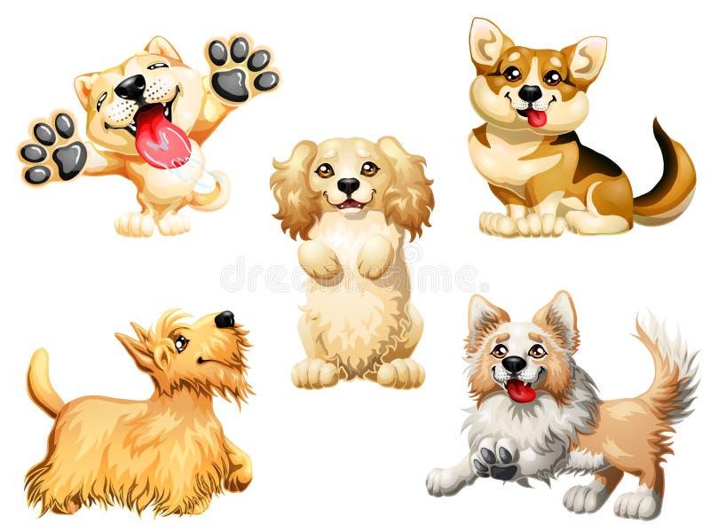Valp för uppsättning fem av en hund på vit vektor illustrationer