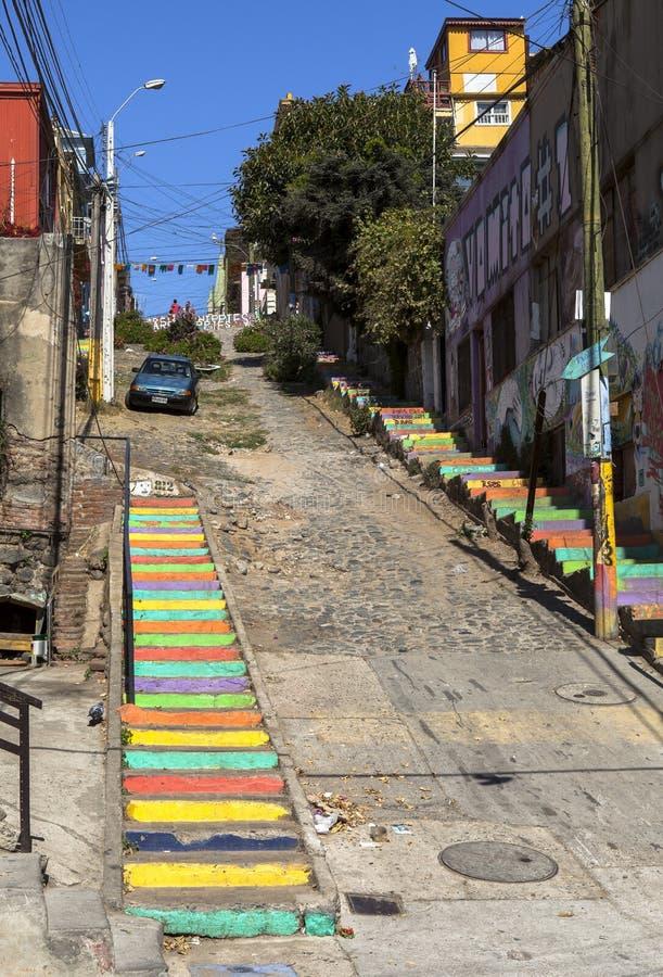ValparaÃso市街道画艺术在智利 免版税库存图片