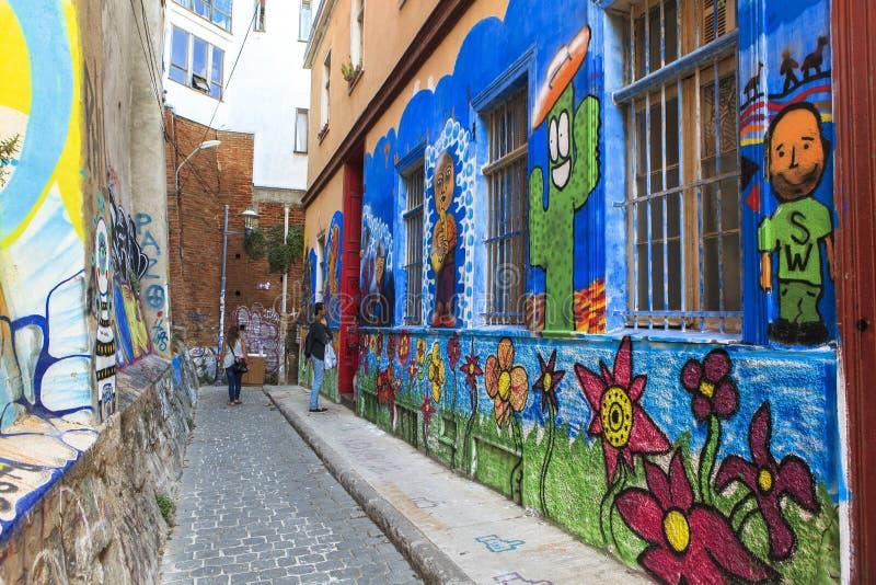 ValparaÃso市街道画艺术在智利 库存照片