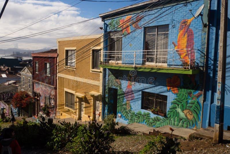 VALPARAISO, ΧΙΛΗ - 2 Ιουνίου 2017: Ζωηρόχρωμα γκράφιτι σε ένα σπίτι στοκ εικόνα με δικαίωμα ελεύθερης χρήσης