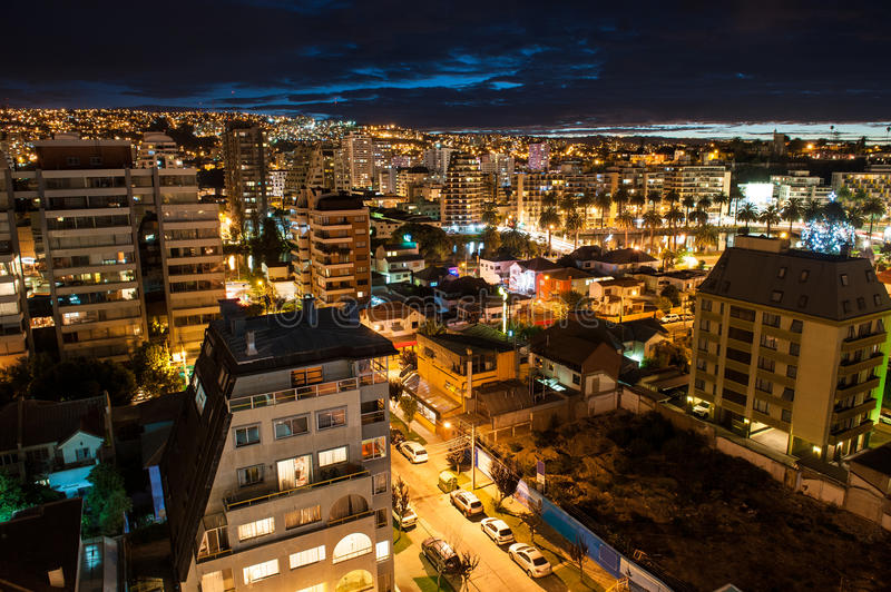 Valparaiso aerial shot. Valparaiso night aerial shot royalty free stock photography