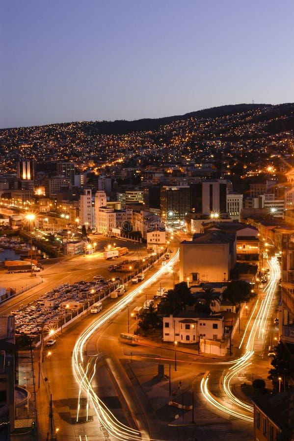 Valparaiso alla notte immagini stock