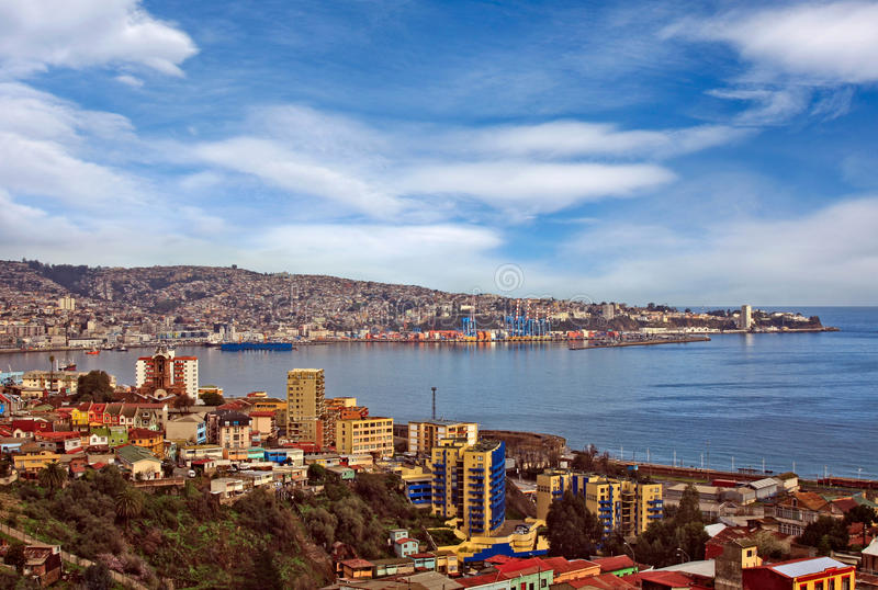 Valparaiso Chile aerial view of town. And habour stock images