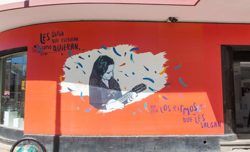 Painted in homage to the composer and singer Violeta parra, in t. VALPARAISO, CHILE- JANUARY 2, 2018: painted in homage to the composer and singer Violeta parra stock photos