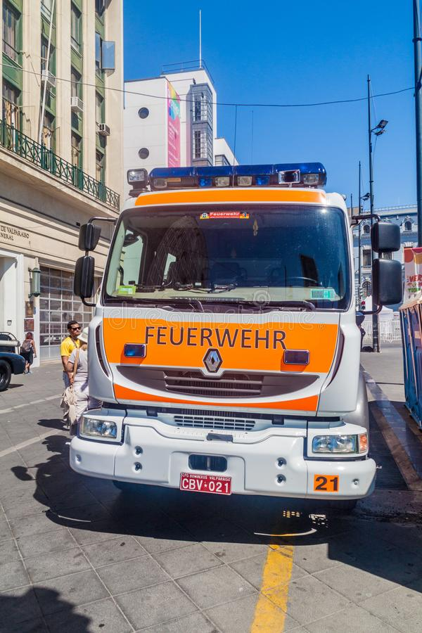 VALPARAISO, CHILE - MARCH 29, 2015: Vehicle of German squad of Valparaiso firefighters. This vehicle is described by. German word Feuerwehr royalty free stock photography