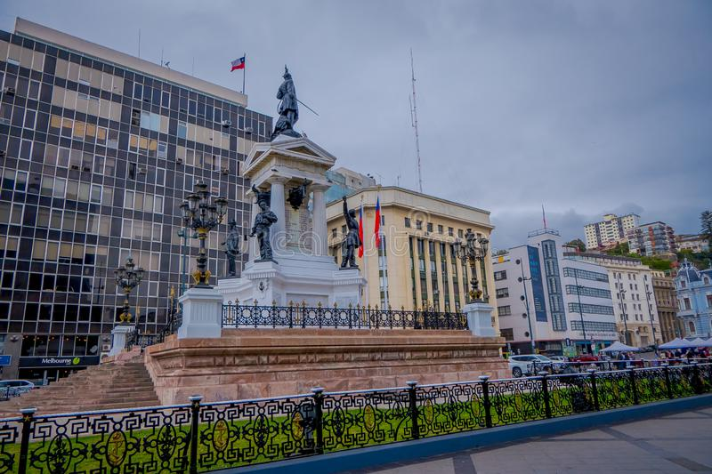 VALPARAISO, CHILE - SEPTEMBER, 15, 2018: Monument To The Heroes Of The Naval Combat of Iquique In 1879 and the Chilean royalty free stock images