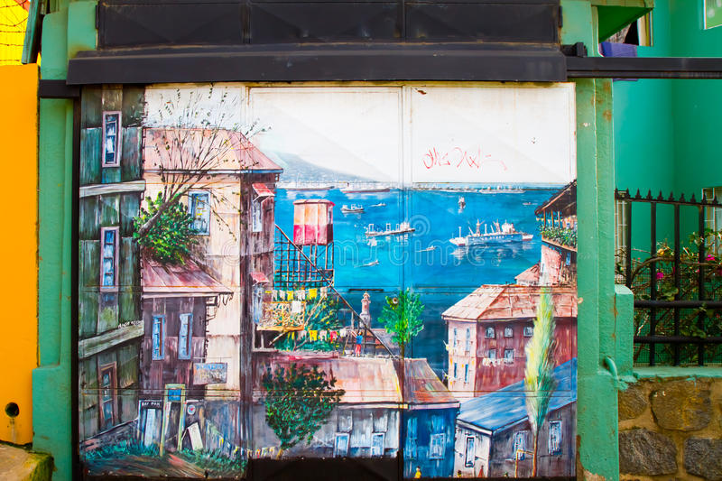 Valparaiso, Chile Street Art. VALPARAISO - June 09: Streets in Concepcion and Alegre districts of the protected UNESCO World Heritage Site of Valparaiso on June stock photo
