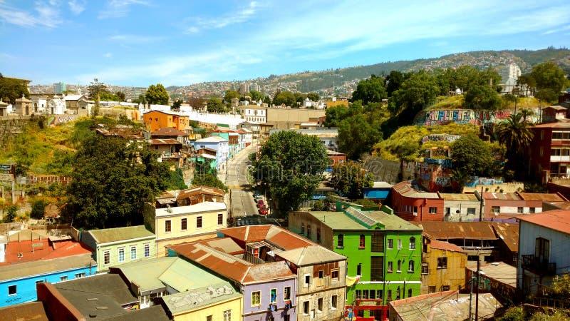Valparaiso-Gebäude, Chile stockbild