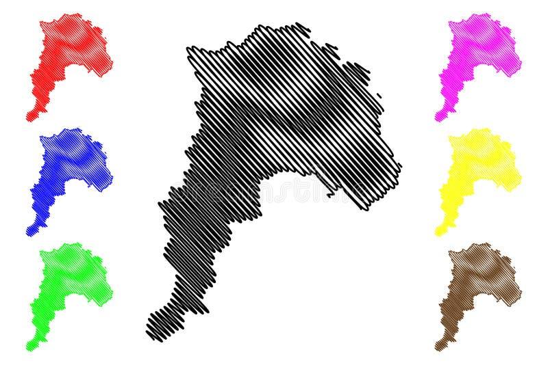 Valparaiso-Regions-Republik Chile, Verwaltungsabteilungen der Chile-Kartenvektorillustration, Gekritzelskizze Valparaiso-Karte stock abbildung