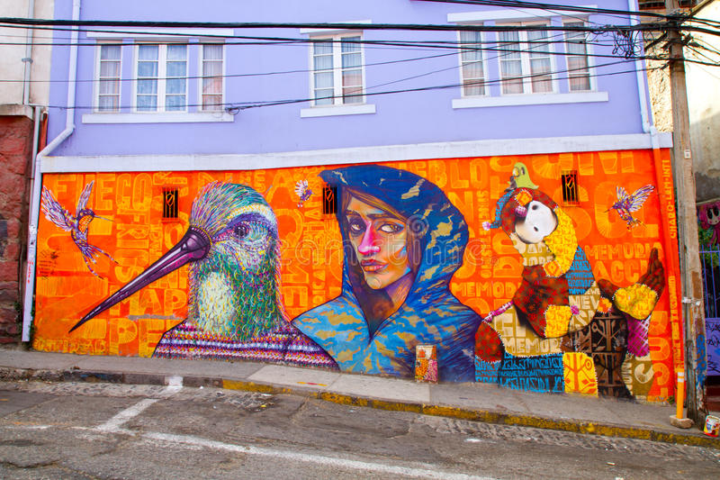 Valparaiso Street Art Graffiti. VALPARAISO - MARCH 03: Street art in Concepcion and Alegre districts of the protected UNESCO World Heritage Site of Valparaiso on royalty free stock photos