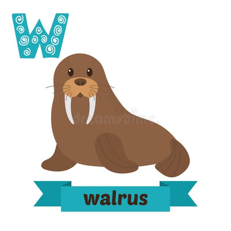 valross W-bokstav Djurt alfabet för gulliga barn i vektor roligt royaltyfri illustrationer
