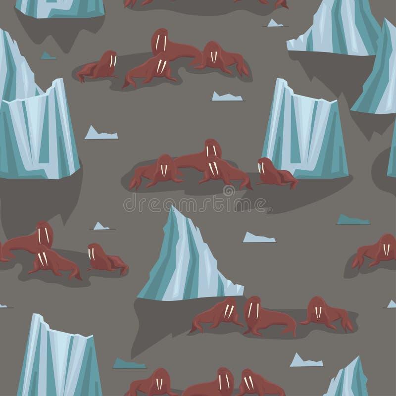 Valrossar på isisflak och isberg Sömlös modell för tyger och förpackande papper var kan formgivare varje f?r objektoriginal f?r e vektor illustrationer