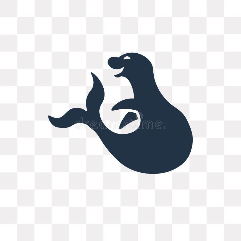 Valrossvektorsymbol som isoleras på genomskinlig bakgrund, valross t royaltyfri illustrationer