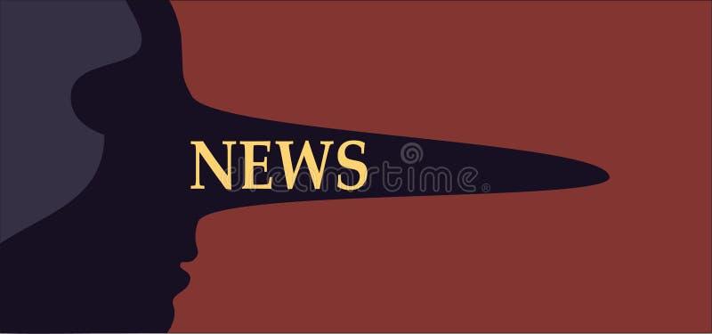 Vals Nieuws Persoon met een lange leugenaarneus die valse media rapportering vertegenwoordigen royalty-vrije illustratie