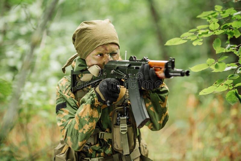 Valschermjager luchtinfanterie in het bos royalty-vrije stock afbeeldingen