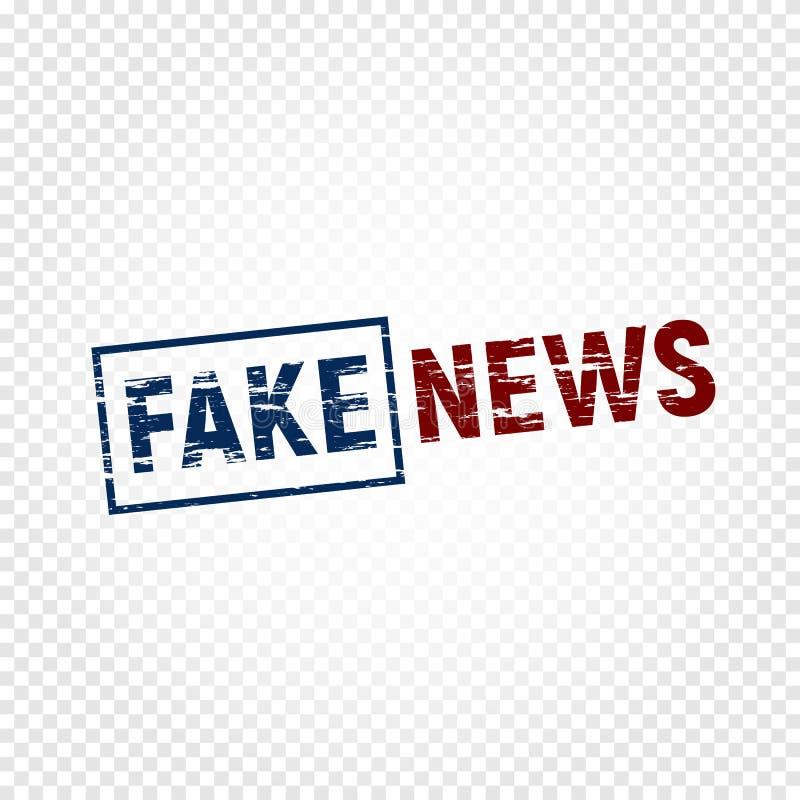 Valse nieuwspers De afgekeurde nieuwszegel met schaaft, embleemmalplaatje op transparante achtergrond, valse uitzendingsvector vector illustratie
