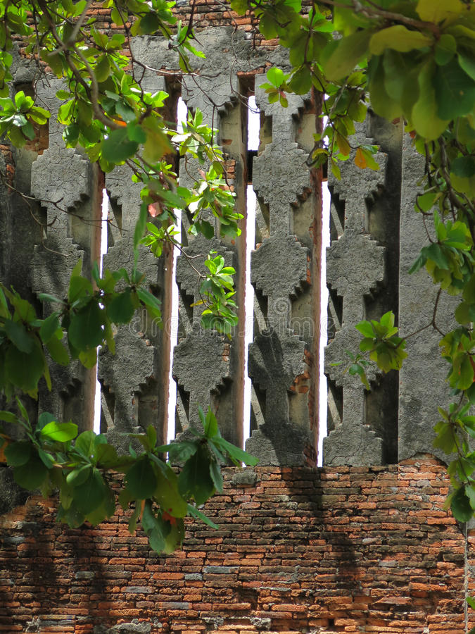 Valse vensters van Koninklijke Vihara, Ayutthaya royalty-vrije stock foto