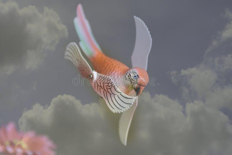 Valse vogels op de scène vage wolk royalty-vrije stock afbeelding