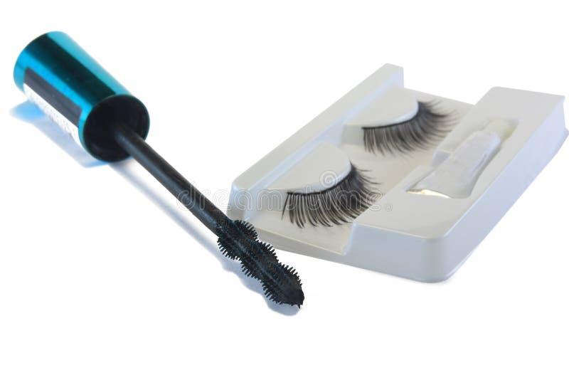 Valse wimpers met mascara stock afbeelding