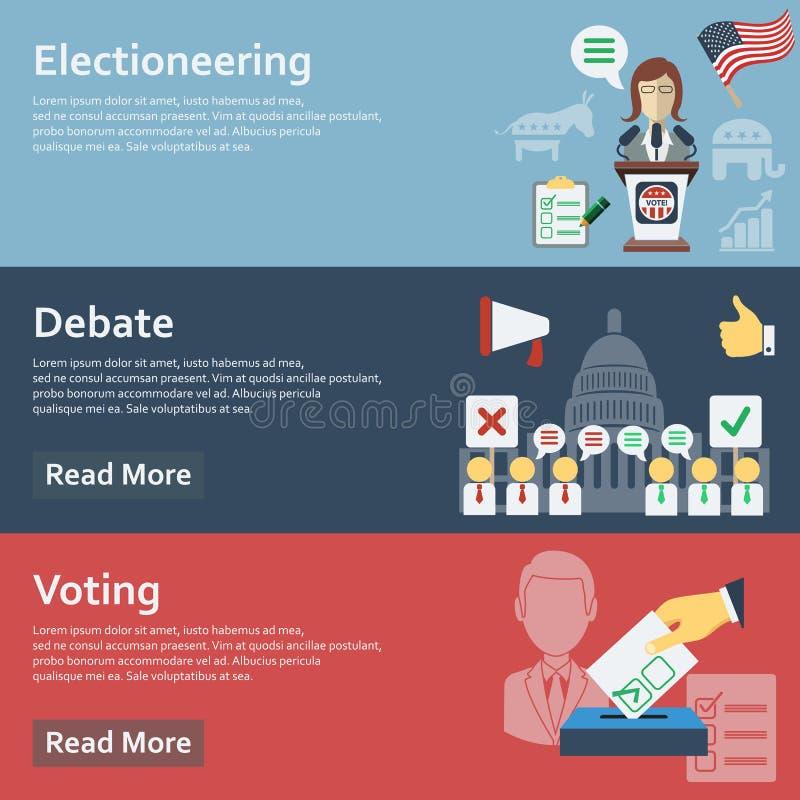 Valställde horisontalbaner in med den plana illustrationen för röstningbeståndsdelvektorn royaltyfria bilder