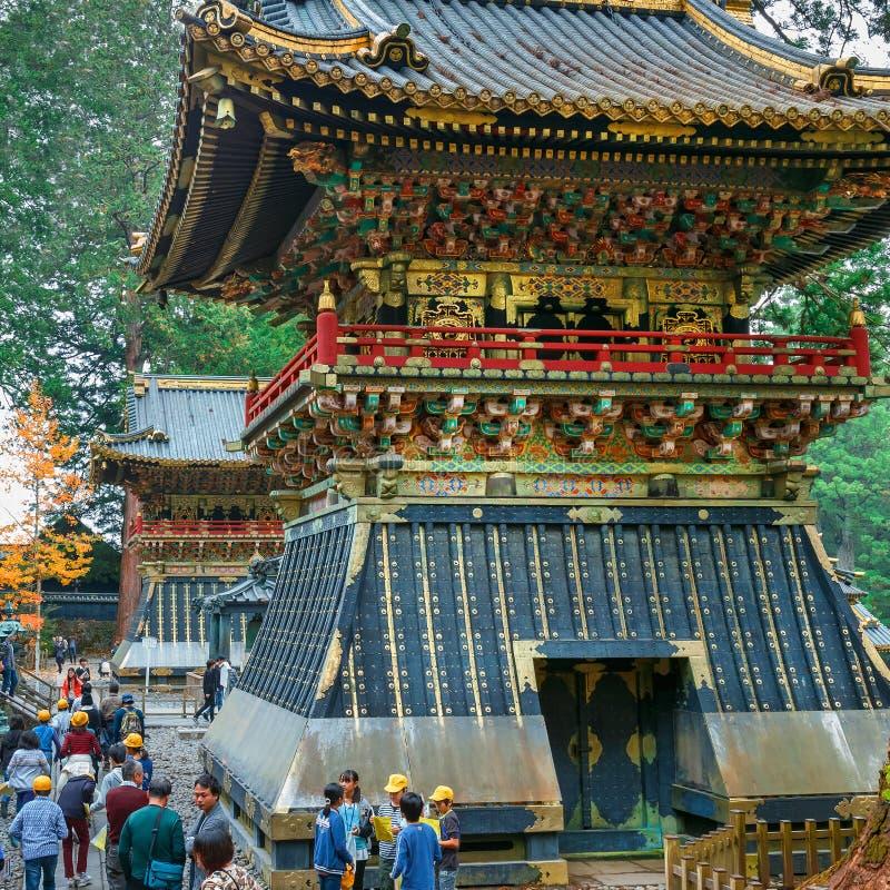 Valstorn (Koro) på dengu relikskrin i Nikko, Japan arkivfoto
