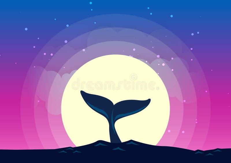 Valsvansen dyker in i havsbakgrunden av månskenet stock illustrationer