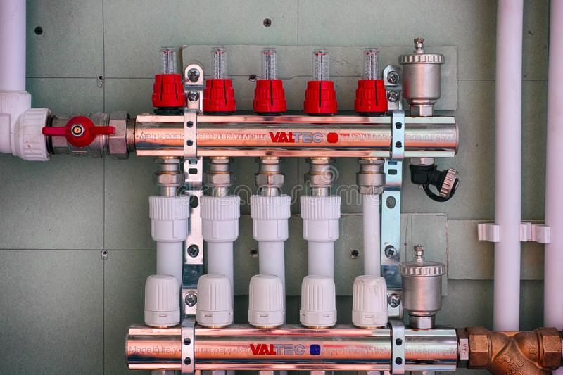 VALTEC Kit of adjustment and shutoff manual manifolds, for water stock photography