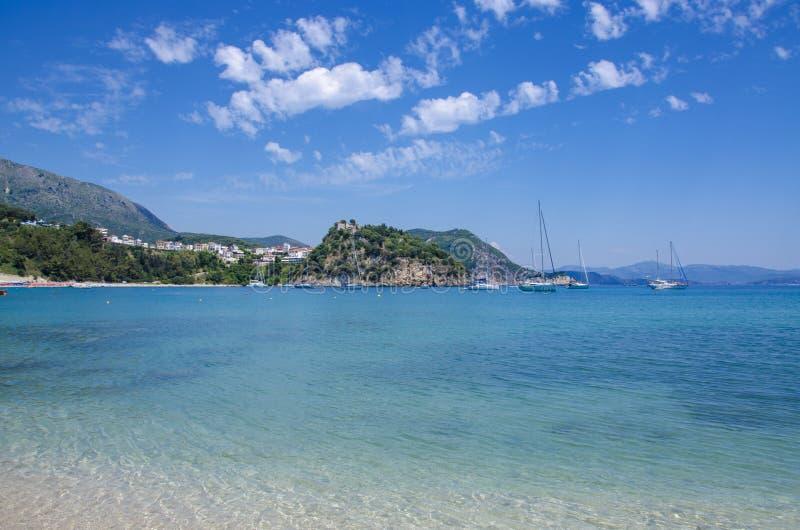 Valtos strand - det Ionian havet - Parga, Preveza, Epirus, Grekland arkivfoton
