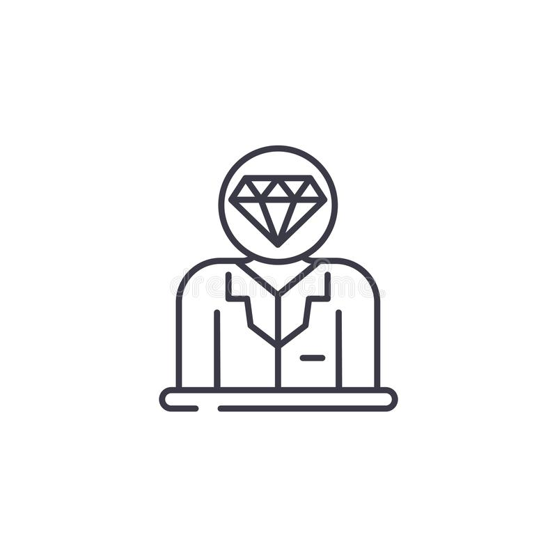 Valuable staff linear icon concept. Valuable staff line vector sign, symbol, illustration. royalty free illustration