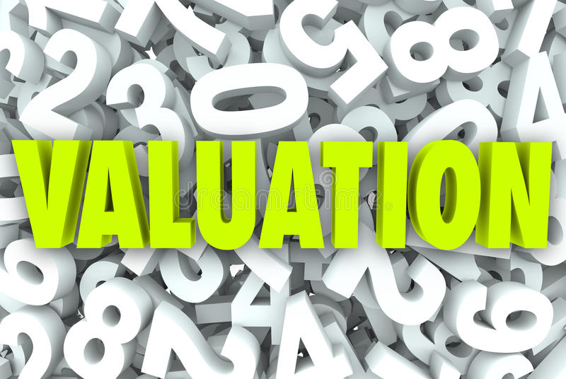 Valuation 3d Word Company Business Value Worth Price Multiples stock illustration