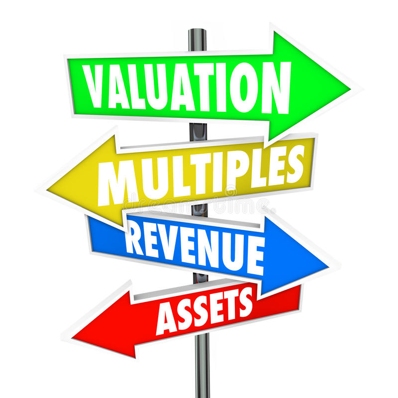Valuation Multiples Revenues Assets Arrow Signs Company Business stock illustration