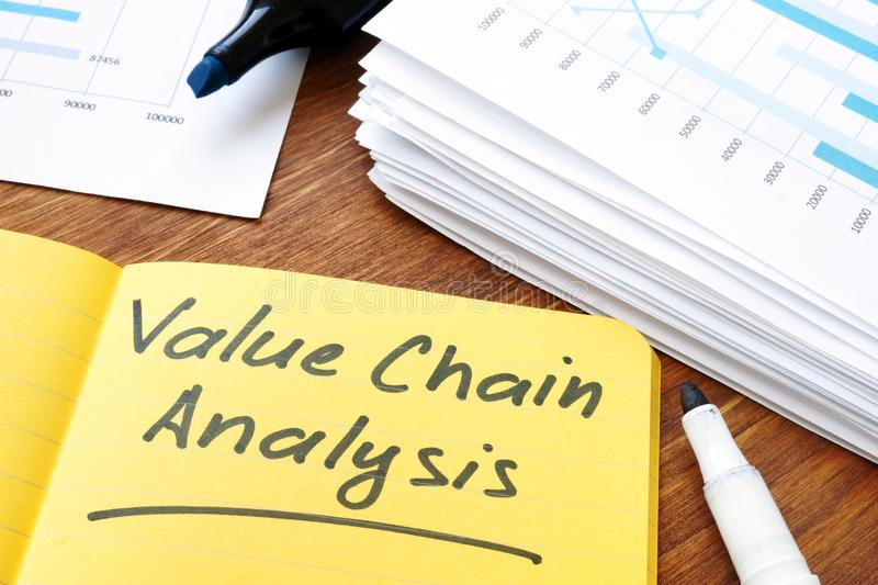Value chain analysis sign and stack of documents stock photography
