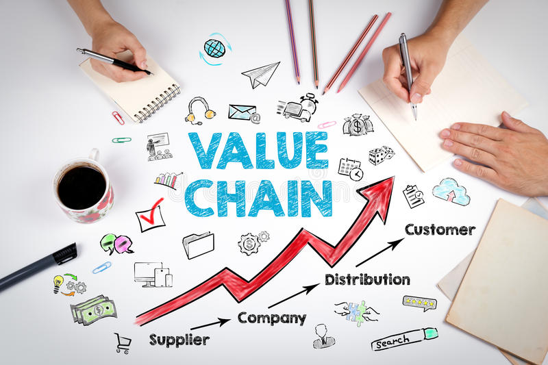 Value chain Business Concept. The meeting at the white office table royalty free stock photos