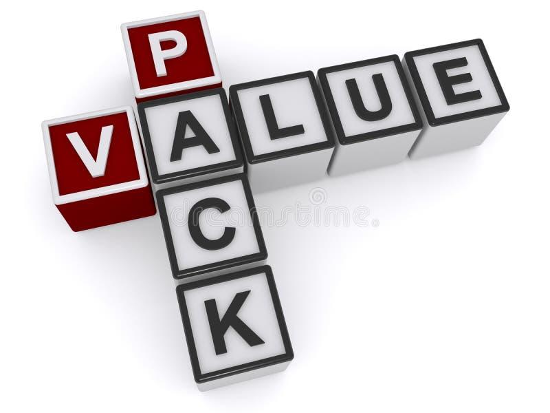 Value pack heading. Crossword on white background royalty free illustration