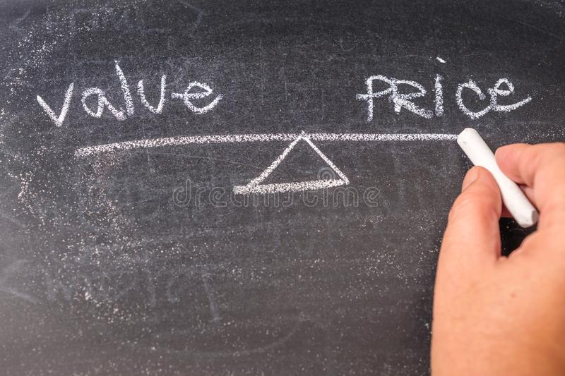 Value and Price Balance. Hand writing and drawing scale of Value and Price balance on blackboard royalty free stock image