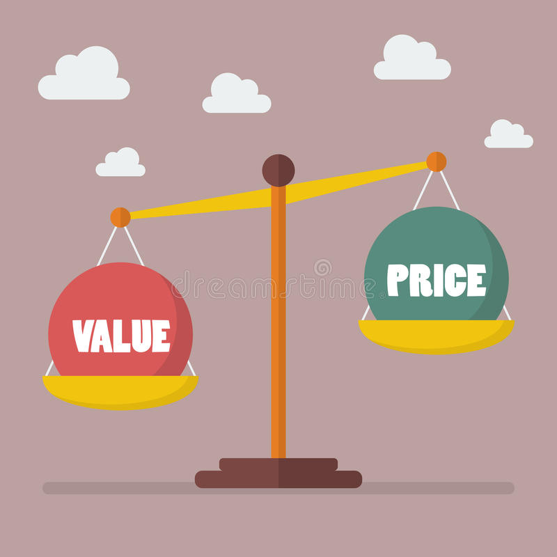 Value and Price balance on the scale. Business Concept stock illustration