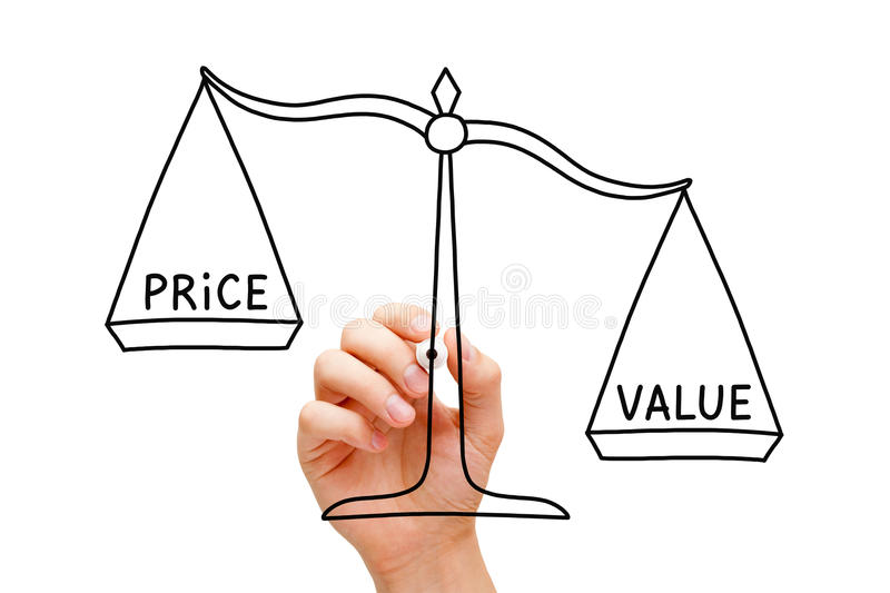 Value Price Scale Concept. Hand drawing Value Price scale concept with black marker on transparent wipe board isolated on white royalty free stock photo