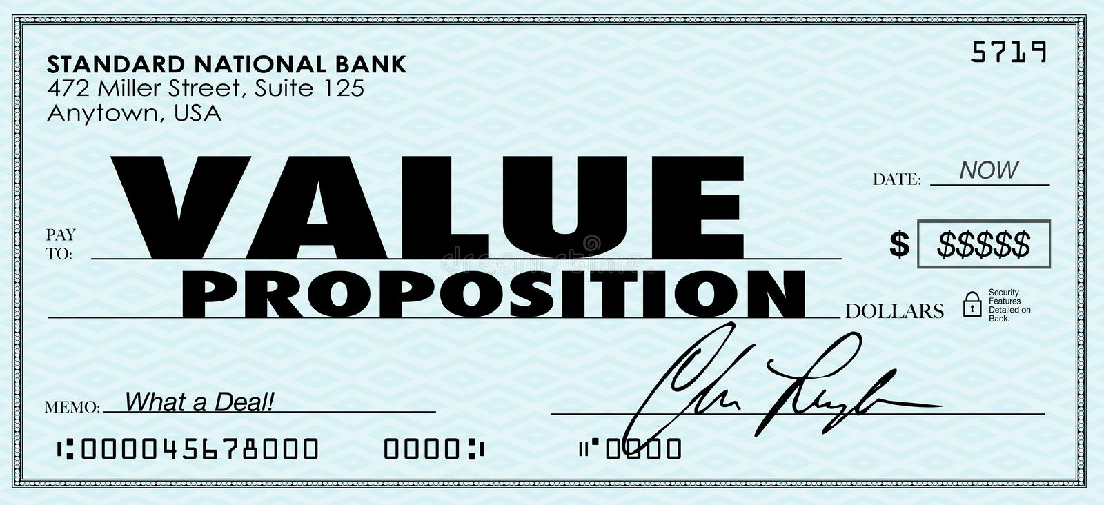 Value Proposition Check Money Selling Buying Benefits Products royalty free illustration