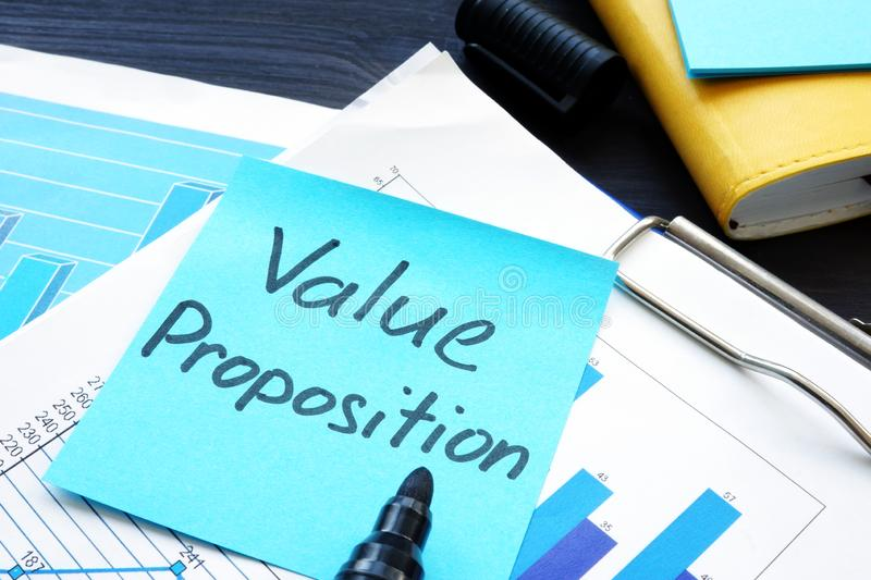 Value proposition. Financial documents with business figures. Value proposition concept. Financial documents with business figures stock photography