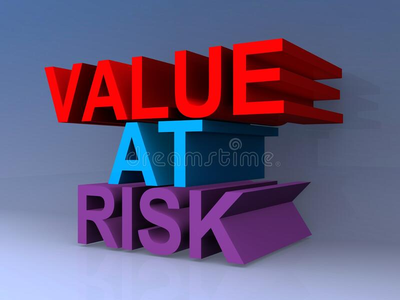Value at risk. On blue royalty free stock photography
