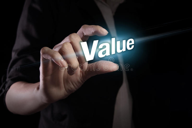 Value on the virtual screen. Hand showing value text on the virtual screen royalty free stock photography