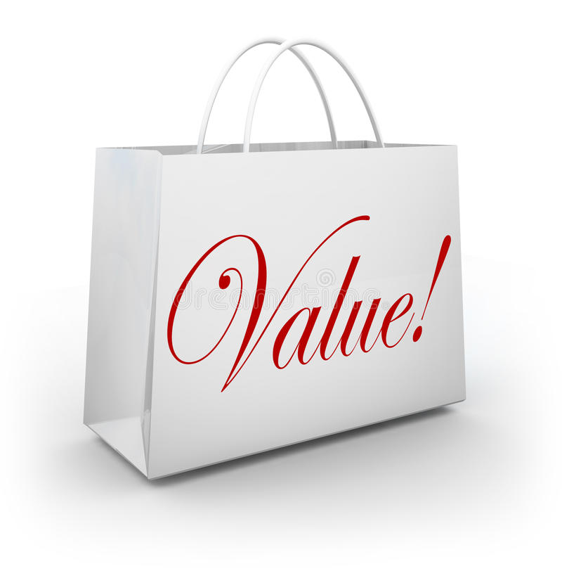 Free Value Word Shopping Bag Special Deal Savings Royalty Free Stock Images - 31478169