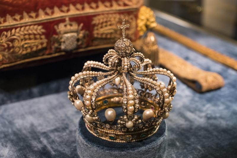 Values and artifacts Treasury of the Bavarian kings in the residence of the Bavarian kingdom in Munich. MUNICH, GERMANY - NOVEMBER 27, 2018 :Values and royalty free stock image
