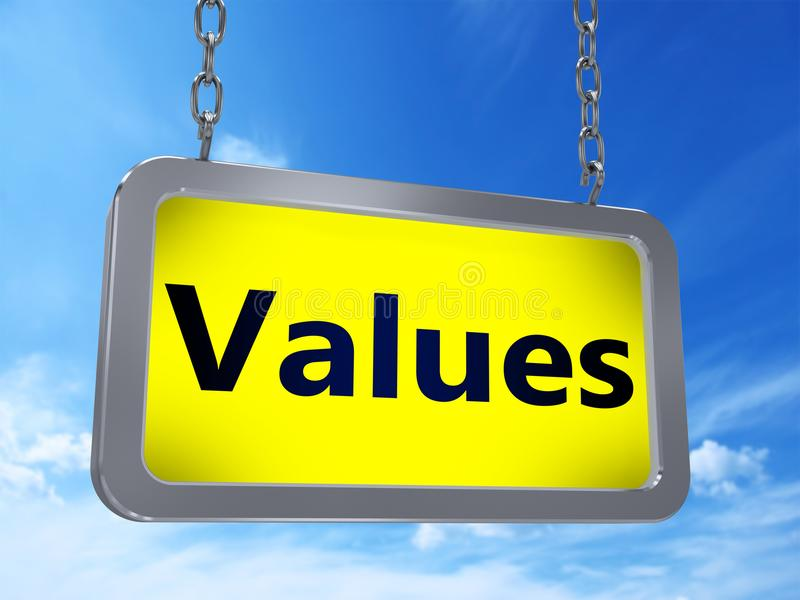 Values on billboard vector illustration