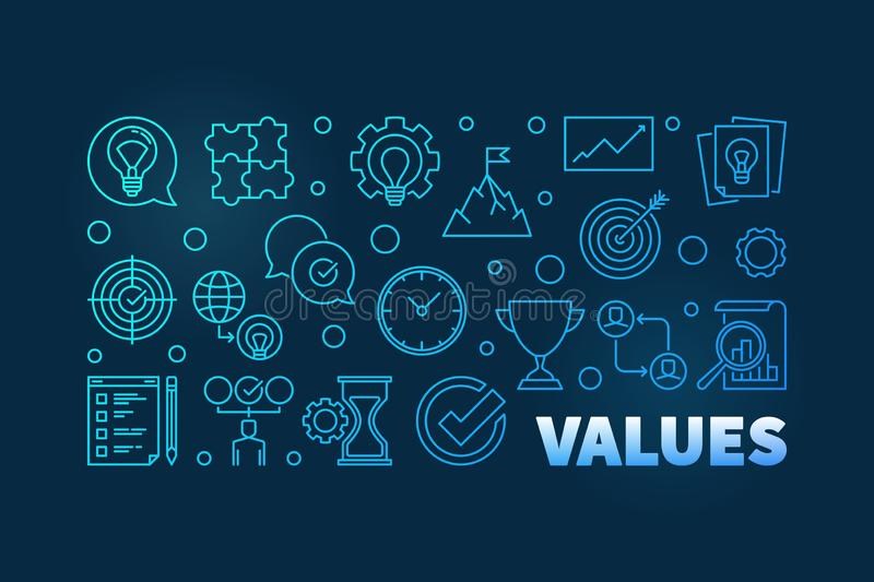 Values blue horizontal thin line banner on dark background. Values blue horizontal thin line banner or illustration on dark background stock illustration